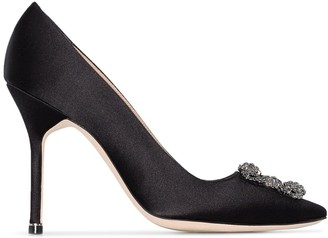 Manolo Blahnik Black Hangisi Buckle 105 Satin Pumps