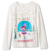 Lands' End Girls Holiday Roll Neck Graphic Tee-Sequin Penguin
