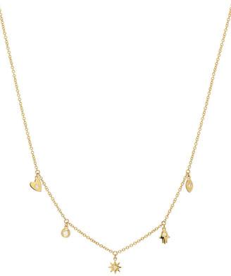Zoe Lev Jewelry 14k Gold and Diamond Charm Necklace