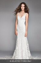 Willowby Corella Embroidered Lace & Charmeuse Mermaid Gown