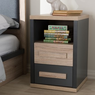 Baxton Studio Contemporary Dark Grey and Light Brown Two-Tone 2-Drawer Nightstand