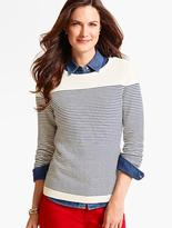 Talbots Zip-Shoulder Block-Stripe Sweater