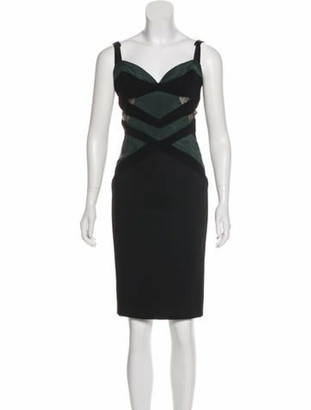 Naeem Khan Sleeveless Knee-Length Dress Black