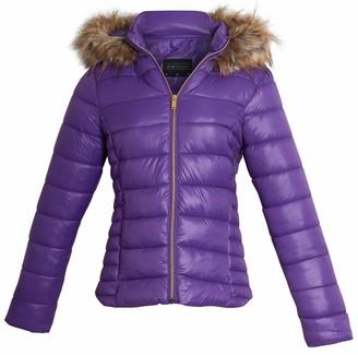shelikes Womens Ladies Puffer Wet Look Faux Fur Hooded Zip Up Jacket Warm Winter Coat [Purple UK 10]