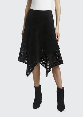 Alaia Asymmetrical Openwork Suede Midi Skirt