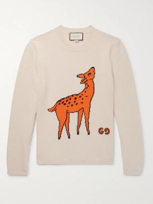 Gucci Slim-Fit Logo-Appliqued Intarsia Wool Sweater - Men - Ecru