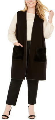 JM Collection Plus Size Faux-Fur-Pocket Vest