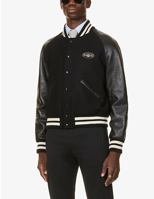 Gucci Logo-embroidered wool and leather bomber jacket