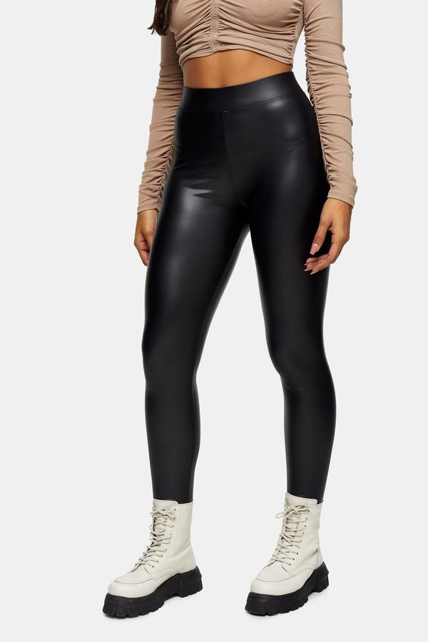 Topshop Womens Black Coated Faux Leather Leggings - Black