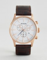Nixon Sentry Chronograph Leather Watch In Brown