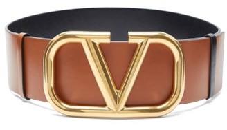 Valentino Reversible V-logo Leather Wide Belt - Tan