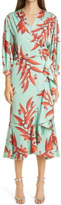 PatBO Patricia Bonaldi Tropical Midi Wrap Dress