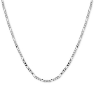"Essentials Fine Silver Plated Figaro Link 24"" Chain Necklace"