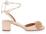 Aquazzura Monaco bead-embellished block-heel suede pumps
