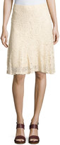 Neiman Marcus Lace Pull-On Skirt, Natural