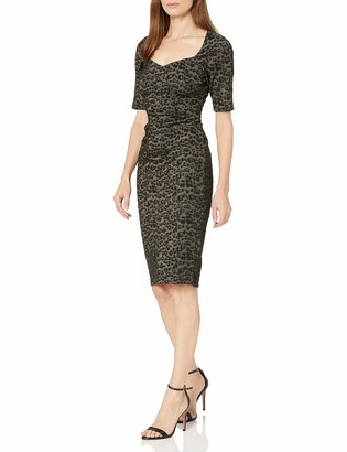 Adrianna Papell Women's Metallic Animal Print Sheath Dress with Sweetheart Neckline