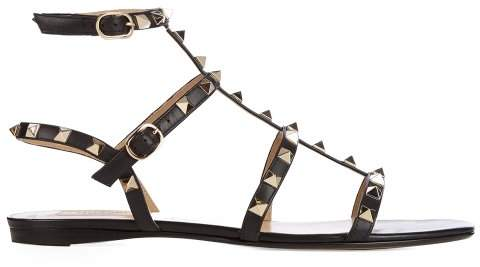 Valentino Rockstud Flat Leather Sandals - Womens - Black