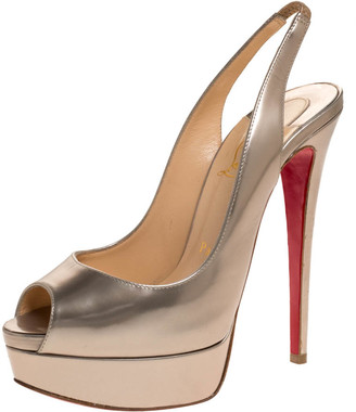 Christian Louboutin Light Gold Leather Lady Peep Slingback Pumps Size 37