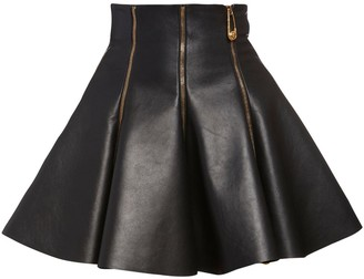 Versace Flared Leather Skirt W/zips