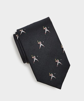 Drakes Silk Baseball Player Tie in Navy