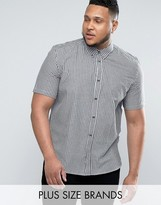 French Connection PLUS Cotton Shirt in Gingham Print With Short Sleeves