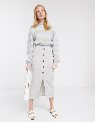 Asos DESIGN rib midi skirt with horn buttons in grey
