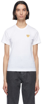 Comme des Garcons White and Gold Heart Patch T-Shirt