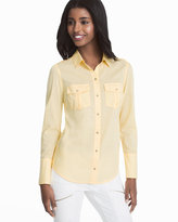 White House Black Market Yellow Cotton Button-Up Shirt