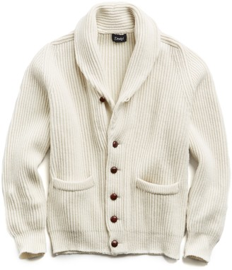 Drakes Drake's Lambswool Shawl Collar Cardigan in Cream