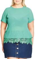 City Chic Plus Size Women's Lace Scallop Top