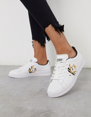 Converse Pro Leather trainers in white and zebra