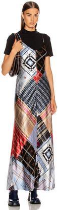 Ganni Silk Stretch Satin Dress in Forever Blue | FWRD