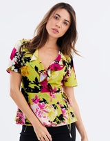 Dorothy Perkins Lime Floral Ruffle Wrap Top