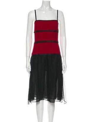 Narciso Rodriguez Colorblock Pattern Midi Length Dress Black