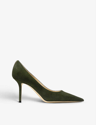 Jimmy Choo Love 85 logo-embellished suede courts