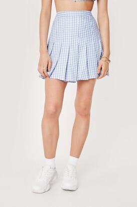 Nasty Gal Womens Gingham Print Pleated Mini Skirt - Blue - 4