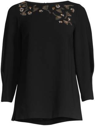Lafayette 148 New York Caddie Blouse With Embellished Detail