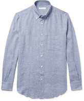Loro Piana Button-Down Collar Micro-Checked Linen Shirt