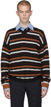 Marni Black and Orange Stripe V-Neck Sweater