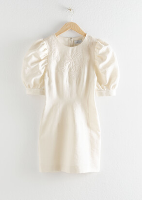 And other stories Embroidered Cotton Dress With Puff Sleeves