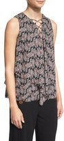 Derek Lam 10 Crosby Sleeveless Floral Silk Lace-Up Top, Black/Multicolor