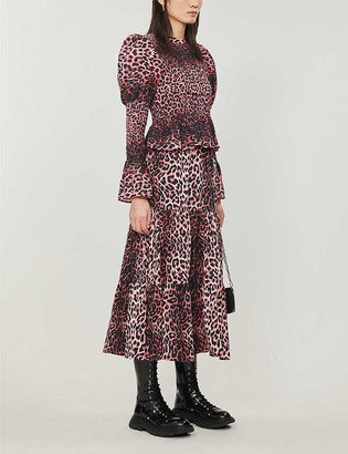 Topshop High-waist tiered leopard-print cotton midi skirt