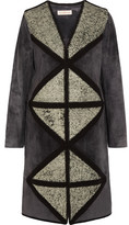 Tory Burch Cracked Leather-Paneled Suede Coat