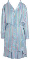 Esteban Cortazar Asymmetric Striped Silk Mini Dress - Blue