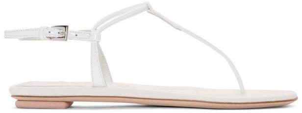 Prada White T-Strap Flat Sandals