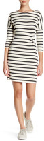 Cupcakes And Cashmere 3/4 Sleeve Front Ruched Striped Dress