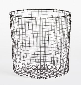 Rejuvenation Large Round Oil-Rubbed Bronze Wire Storage Basket