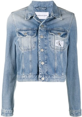 Calvin Klein Jeans Stonewashed Cropped Denim Jacket