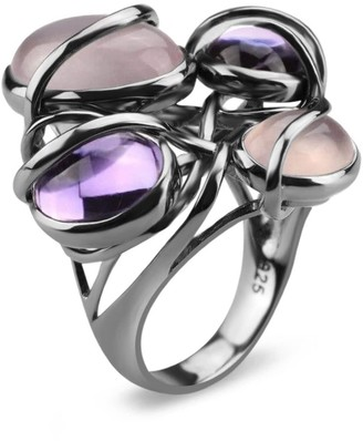 Bellus Domina Rhodium Plated Multiple Stone Cocktail Ring