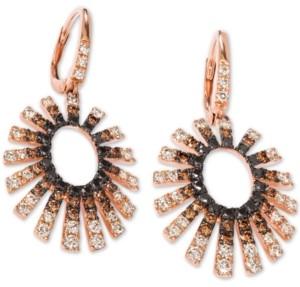 LeVian Le Vian Chocolate Layer Cake Diamond Sunburst Drop Earrings (2 ct. t.w.) in 14k Rose Gold